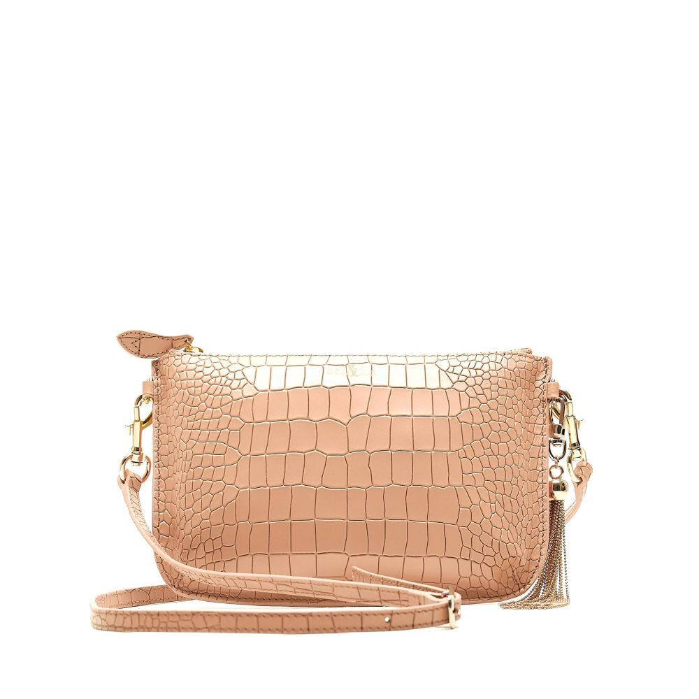 Bell and Fox IVY Metal Tassel Leather Strap Cross Body Bag / Clutch - Camel