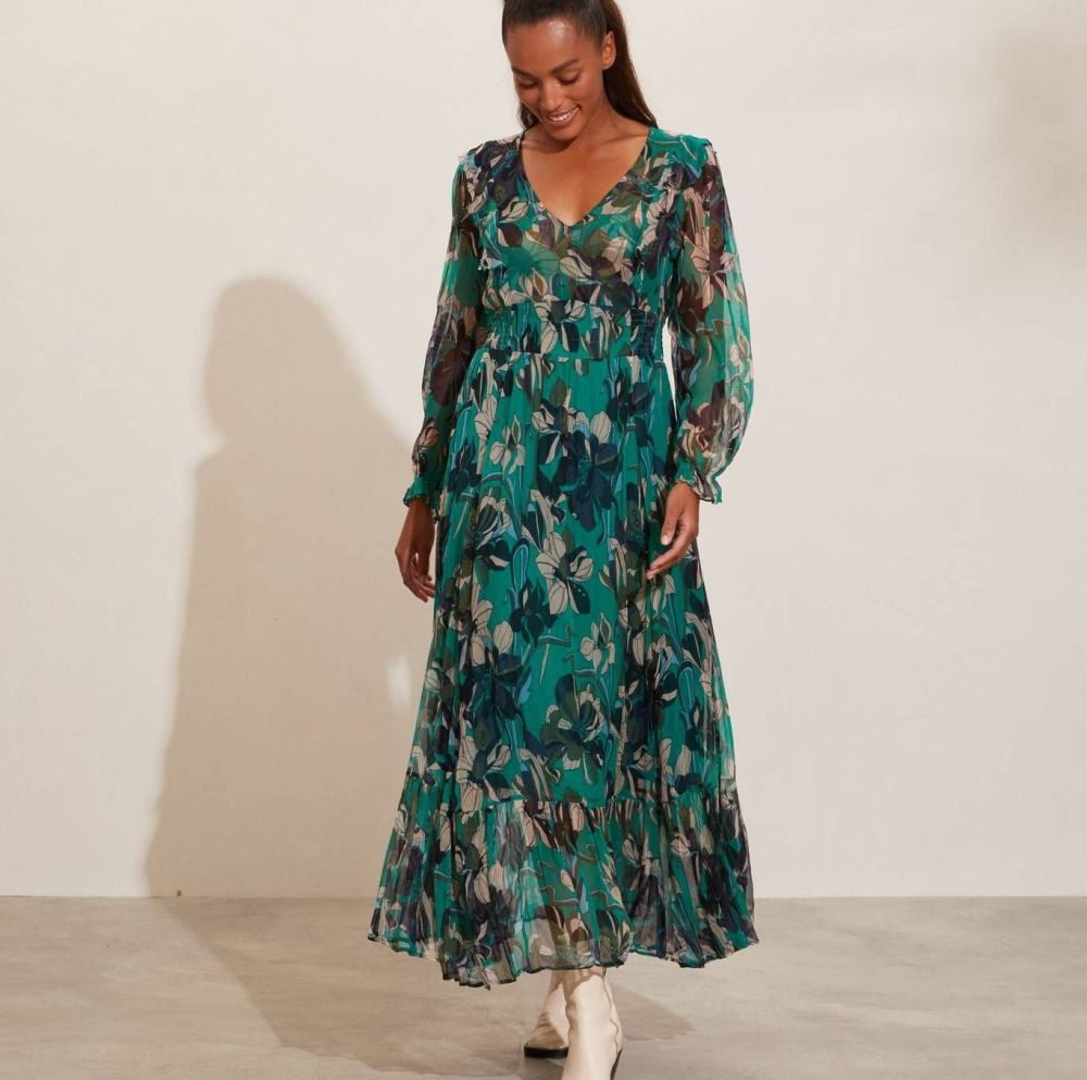 Odd Molly Arabella Long Dress in Deep Jade