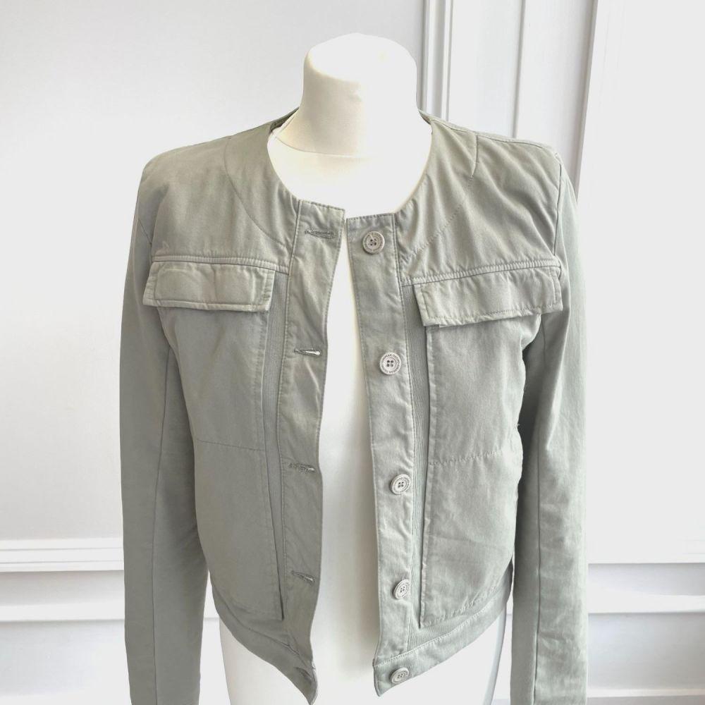 European Culture Khaki Collarless Jacket