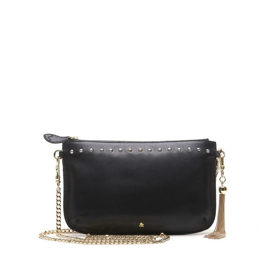Bell and Fox IVY Studded Leather Strap Cross Body Bag / Clutch - Black Nappa
