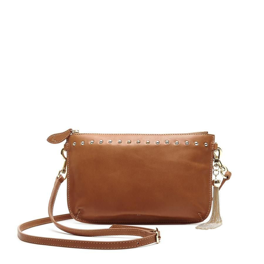 Bell and Fox IVY Studded Leather Strap Cross Body Bag / Clutch - Tan Nappa