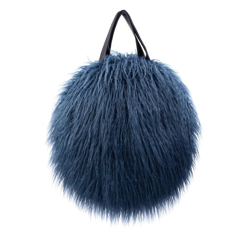 Helen Moore Faux Shearling Round Bag in Blue