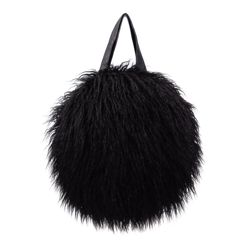 Helen Moore Faux Shearling Round Bag in Black