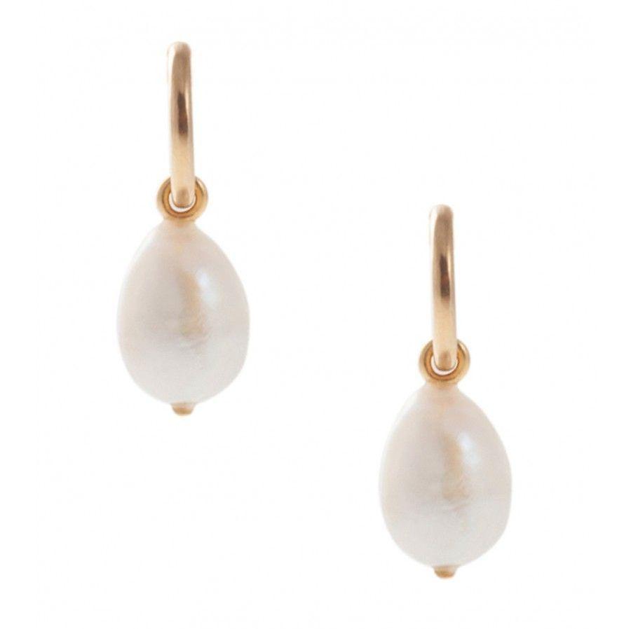 Pink Powder Sea Pearl Hoop Earrings