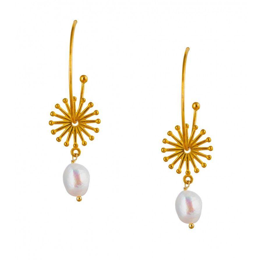 Pink Powder Pearl Sunburst Hoop Earrings