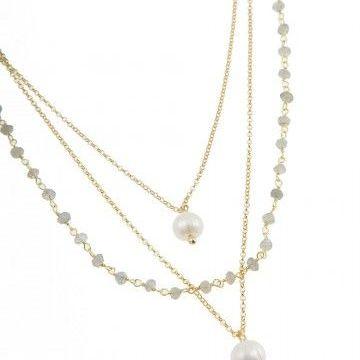 Pink Powder Short Triple Labradorite and Pearl Pendant Necklace