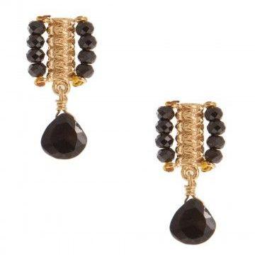 Pink Powder Black Onyx Silver Gold Plated Macrame Stick Beaded Earrings