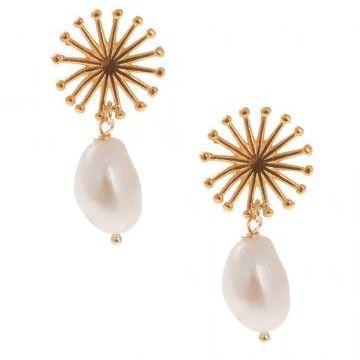 Pink Powder Sea Pearl and Sunburst Charm Earrings