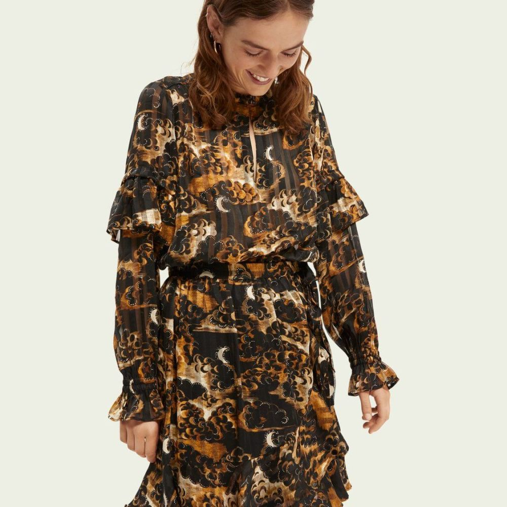 Scotch and Soda Printed Ruffle Top - Gold and Black