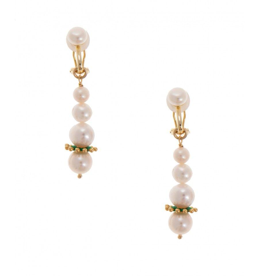 Pink Powder Long Fresh Water Pearl Beaded Clip Earrings