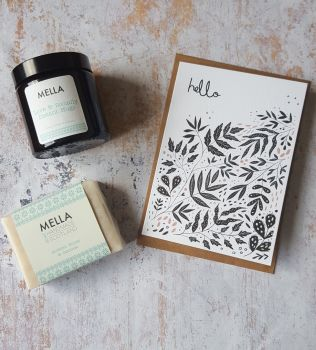 Hello card with Amber Candle Jar and Mella Soap