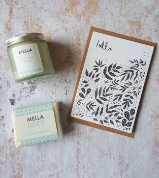 Hello card with frosted candle jar and Mella soap