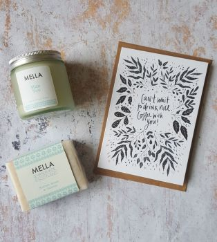 Nice coffee card with frosted glass jar candle and Mella soap