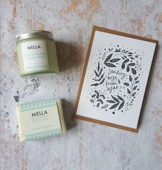 Hugs from afar card with frosted glass jar candle and Mella soap