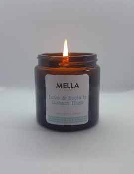 Love and Socially Distant Hugs Mella Message Candle