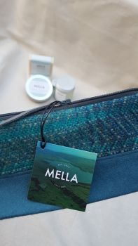 Shetland Tweed Cosmetic Bag with a selection of luxury handmade Mella products