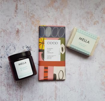 Rhubarb and Ginger COCO Chocolate with Rhubarb and Plum Soy Wax Candle and luxury Mella Honey and Oatmeal Soap