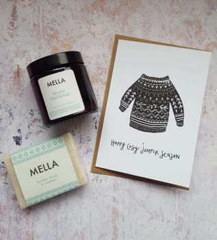 Christmas Jumper Card, Candle and Mella Soap