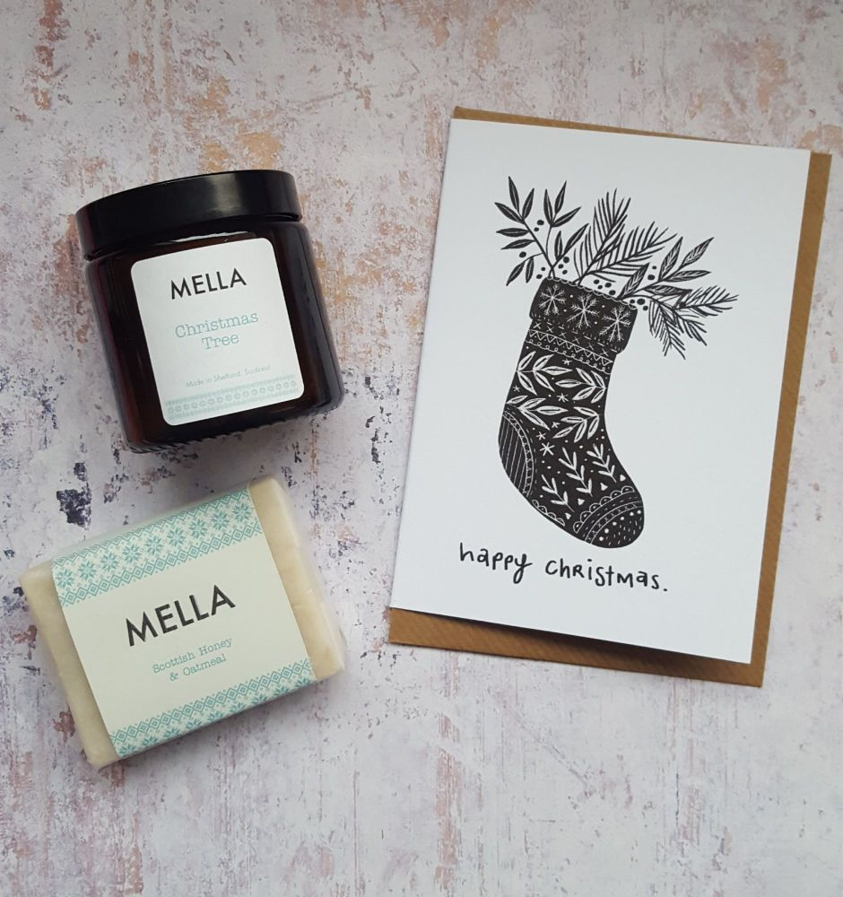 CHRISTMAS SOCK Card, Mella Candle and Soap Gift Set