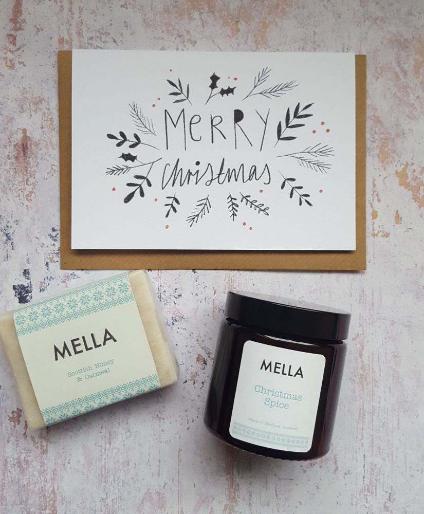MERRY CHRISTMAS Card, Mella Candle and Soap Gift Set