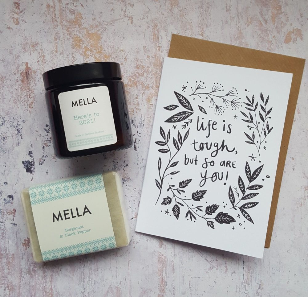 LIFE IS TOUGH Mella Candle and Soap Gift Set