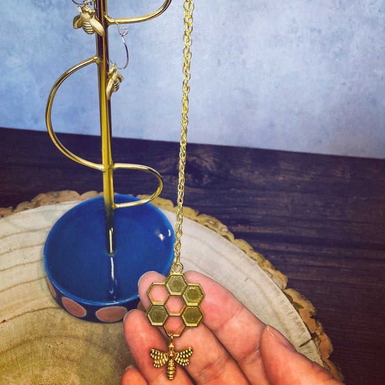 Gold plated bee and honey necklace