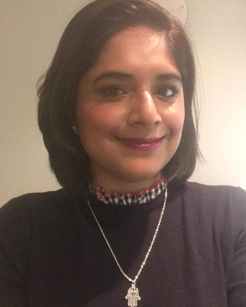 Hamsa hand filigree necklace