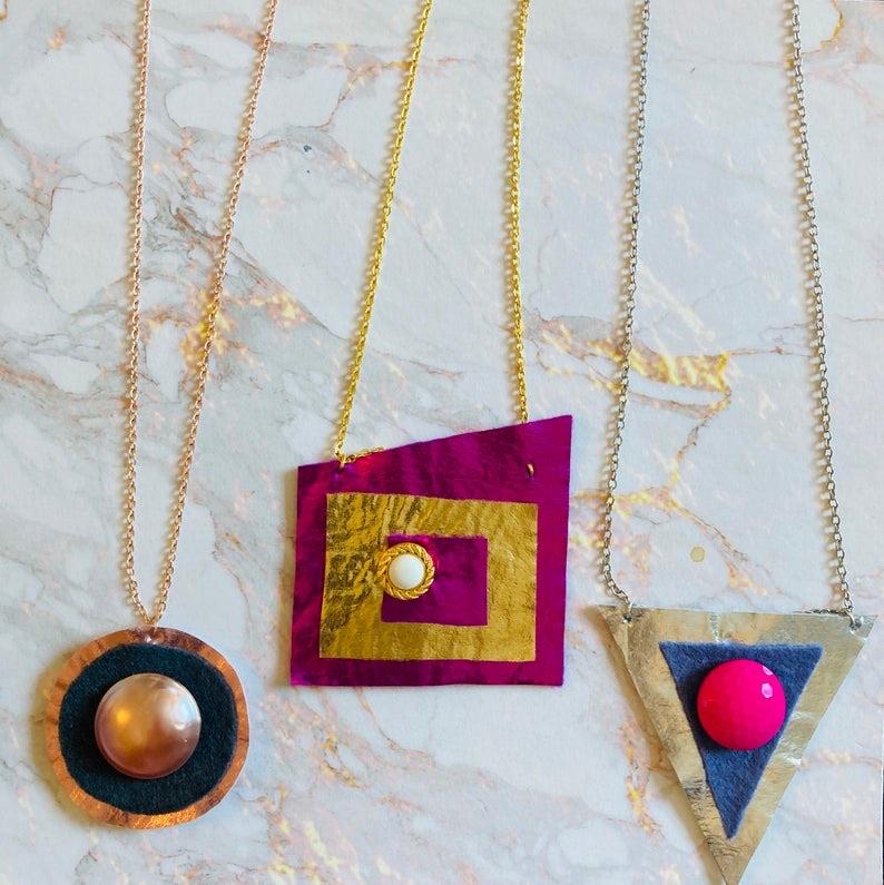 Metallic textiles contemporary pendants