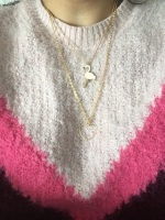 Naheed's Sparkle handmade gifts and jewellery, Baby pink flamingo charm gold plated necklace
