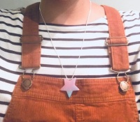 Naheed's Sparkle shop handmade gifts and jewellery, glitter resin star pendant, pink