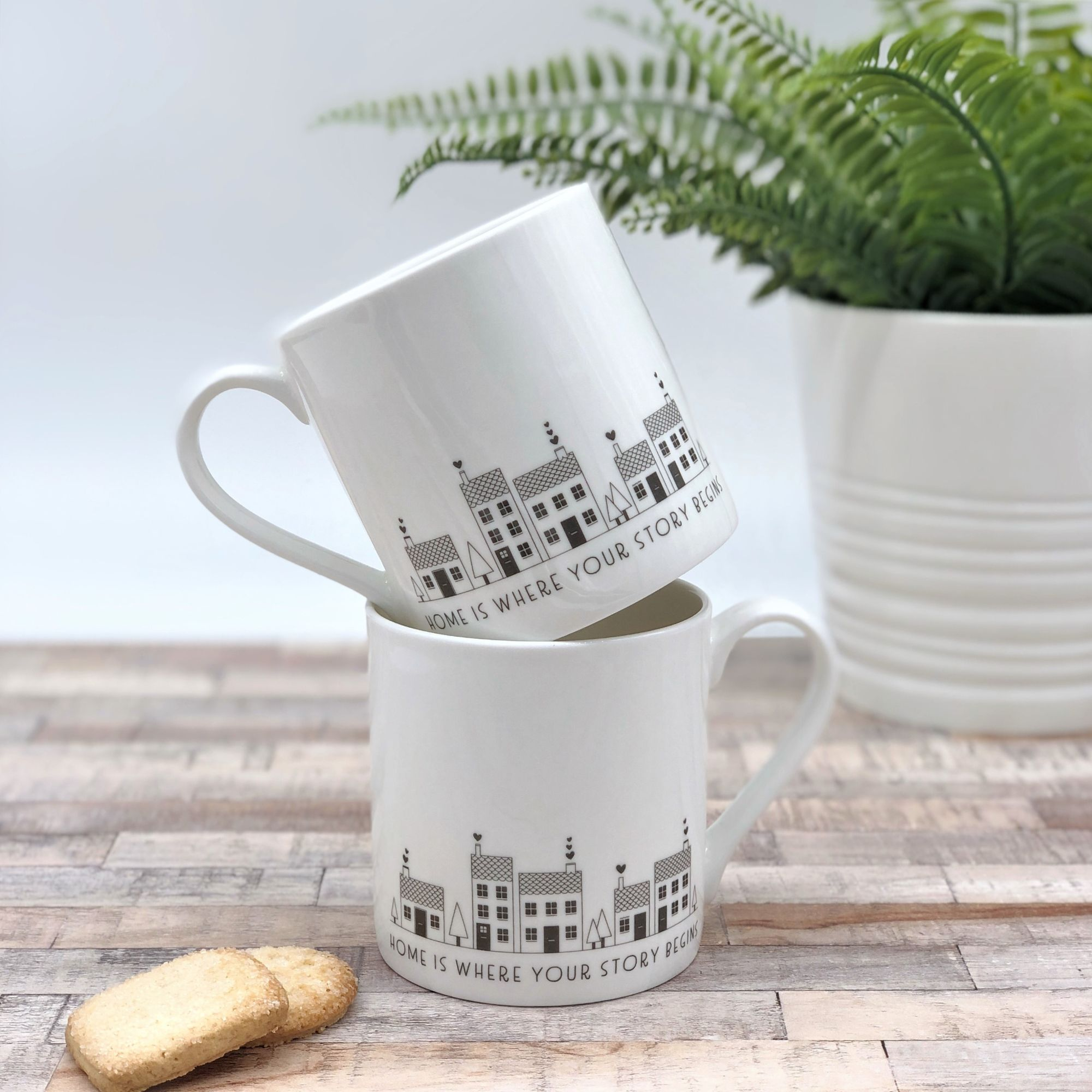 Bone china mugs Home is where you story begins set of 2 stacked