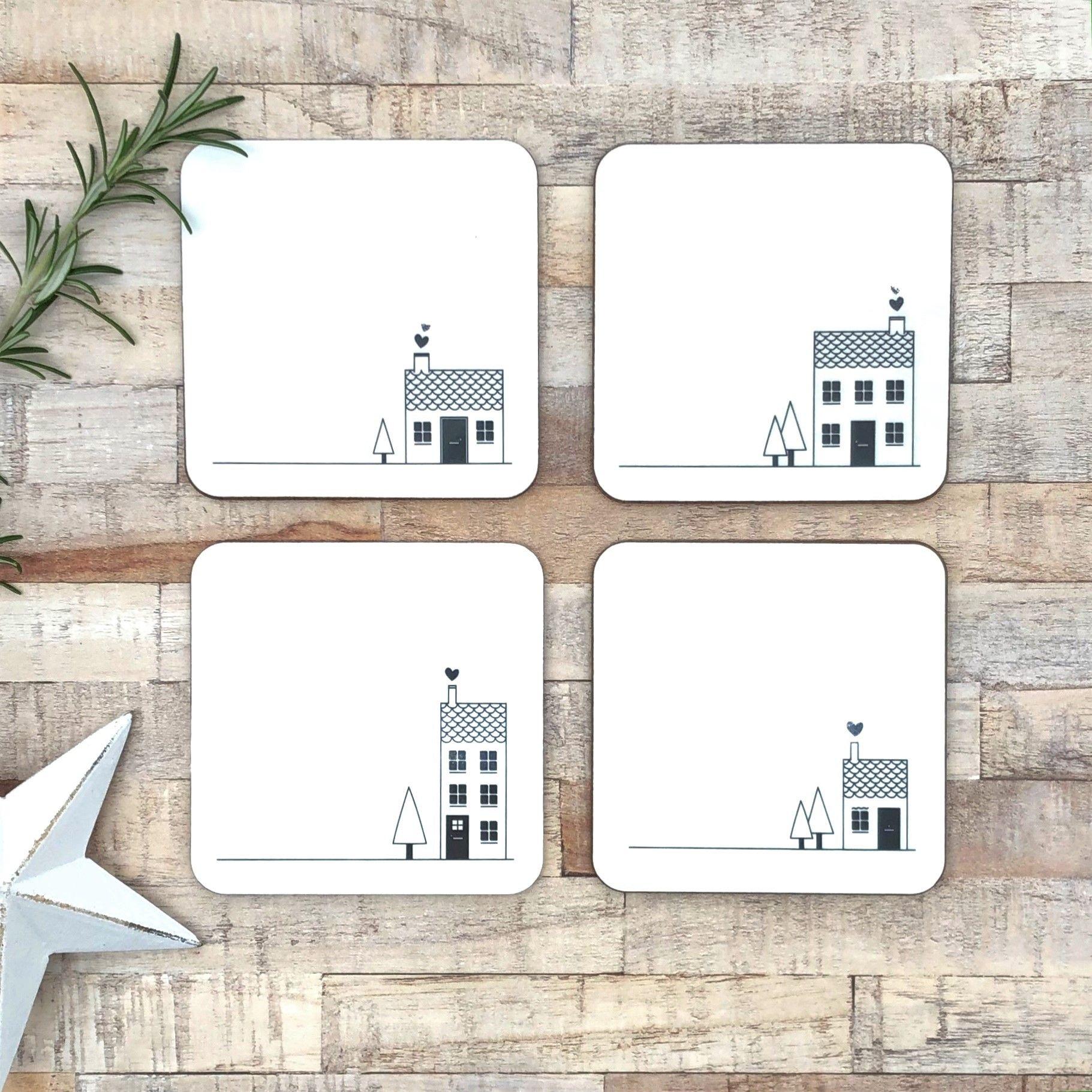 Set of 4 melamine gloss coasters on table 1