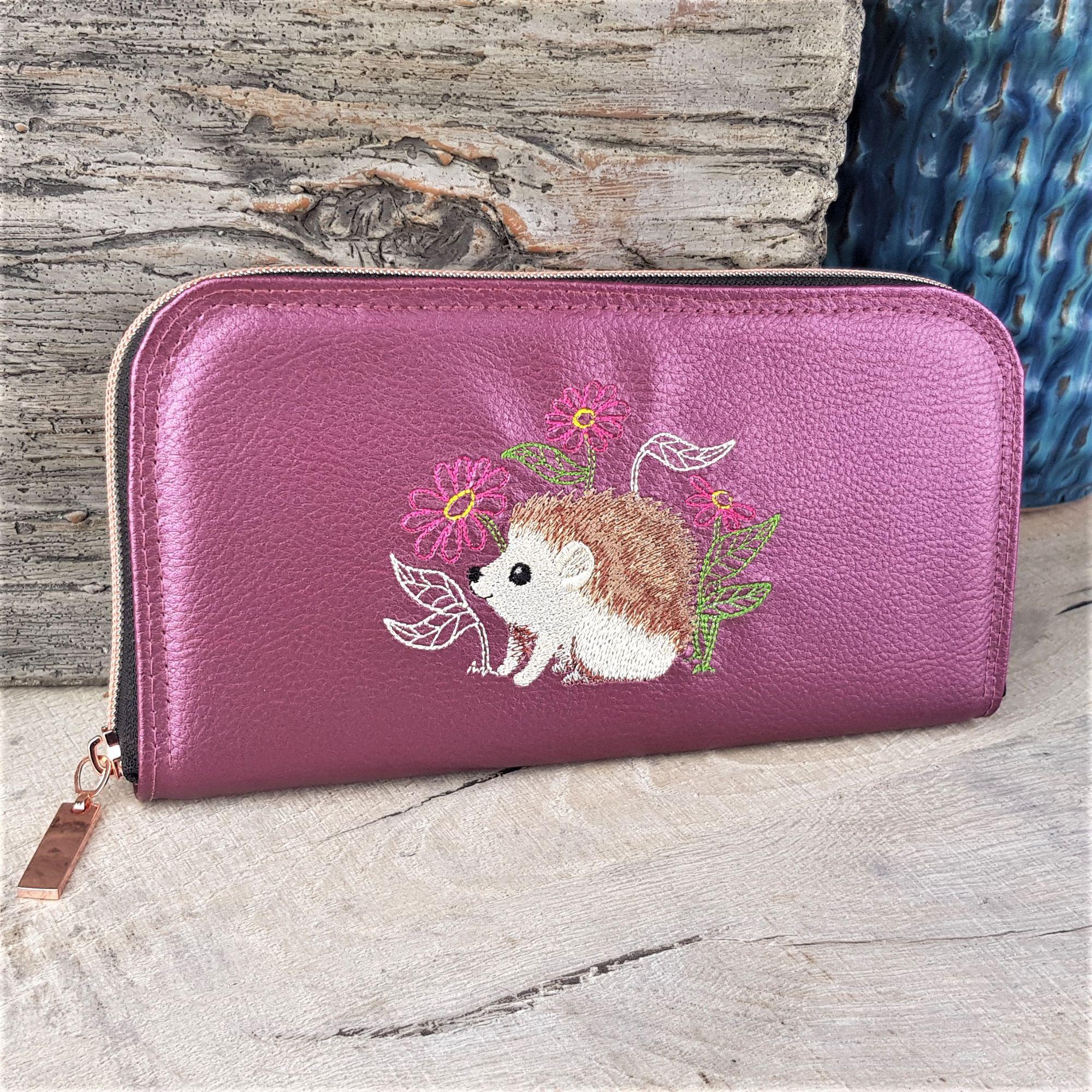Unique-zip-around-wallet-purse-with-embroidered-hedge-hog