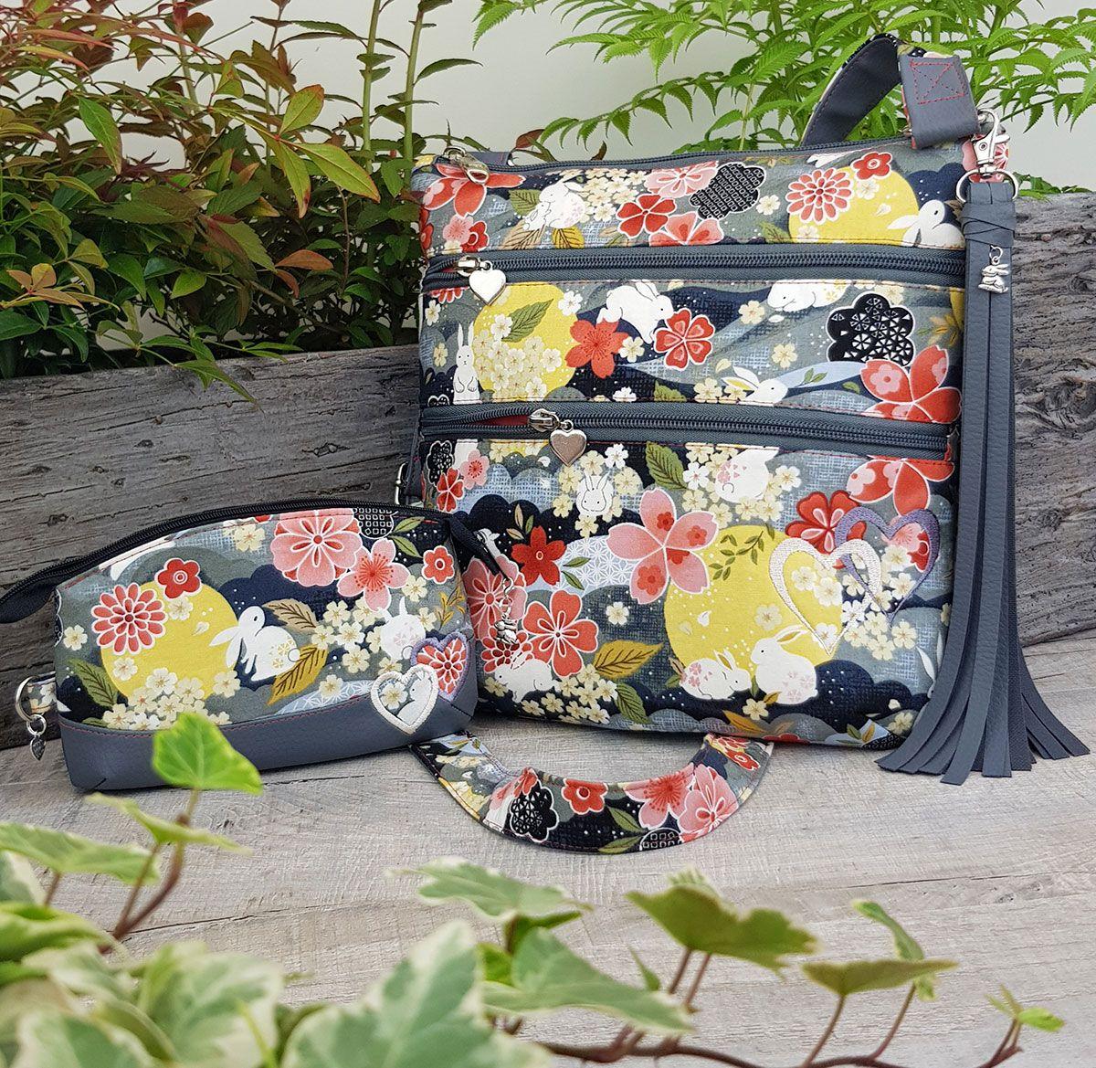Customised-cross-body-organiser-bag-Japanese-Floral