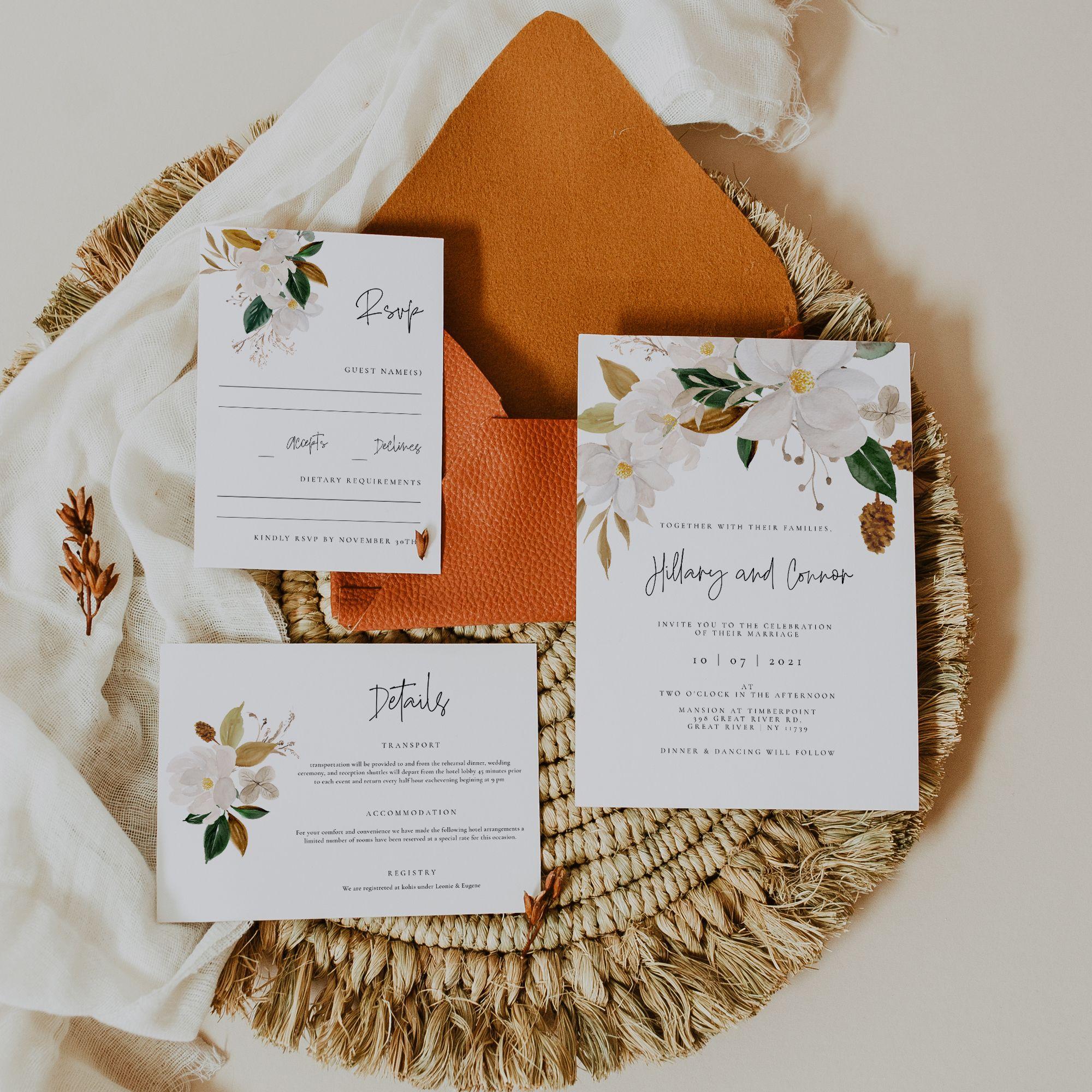 White Magnolia Wedding invitation set.jpg