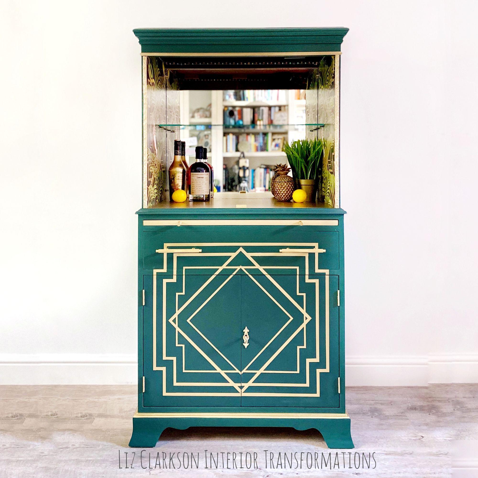 Art Deco Drinks Cabinet in Forrest Green.jpg