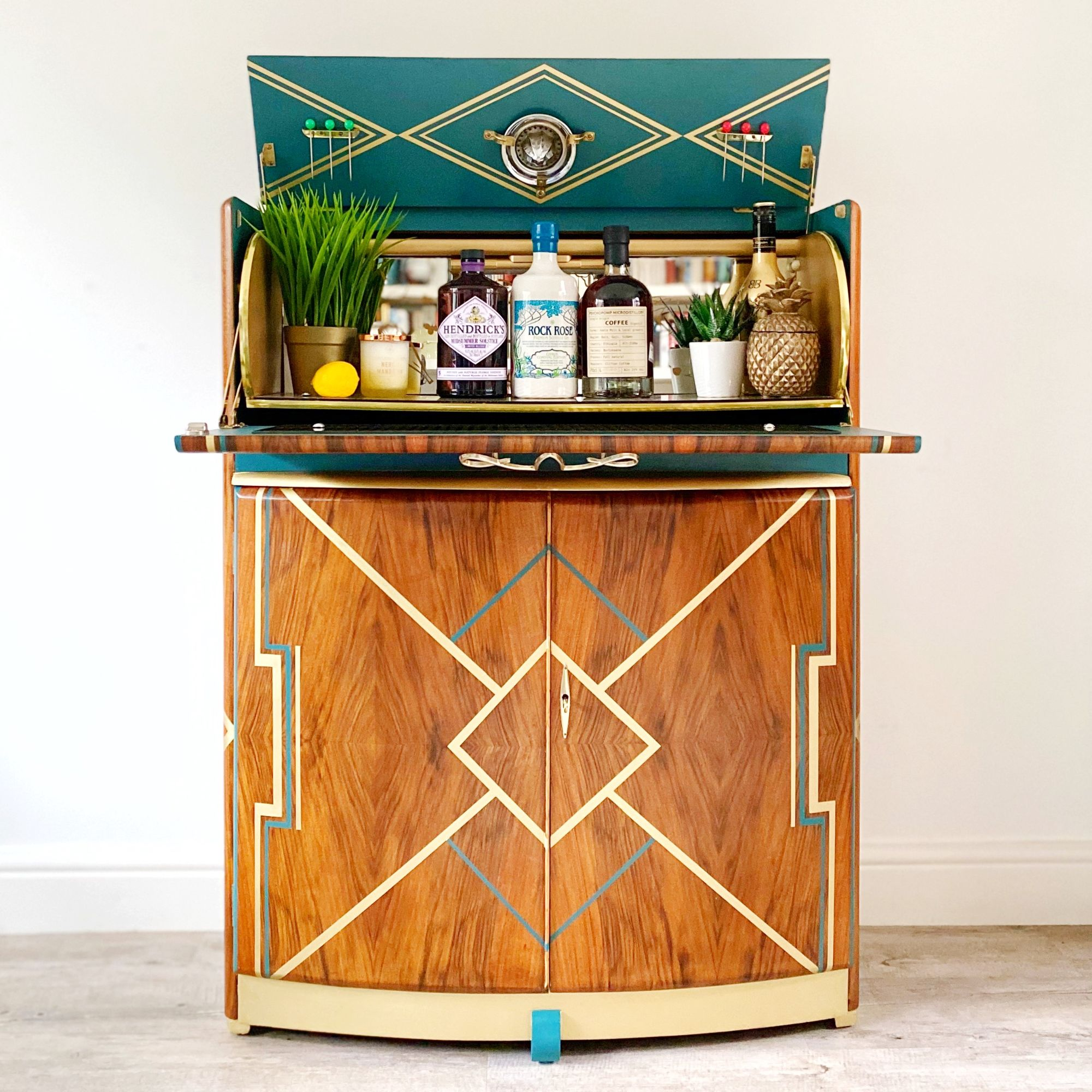 Large Art Deco Drinks cabinet in Teal & Gold.jpg