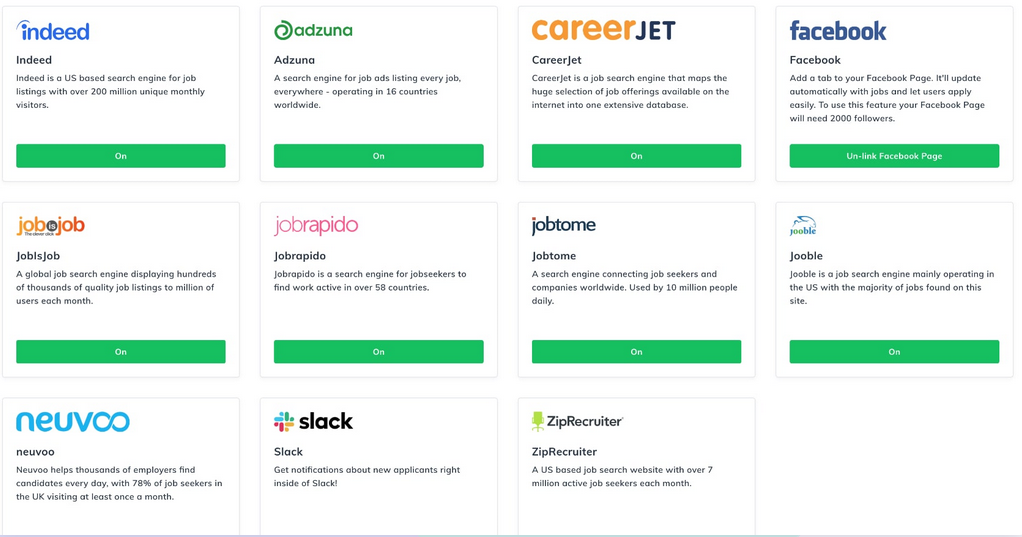 Post Jobs across your favourite job boards like Indeed and Glassdoor, with one click, for free.