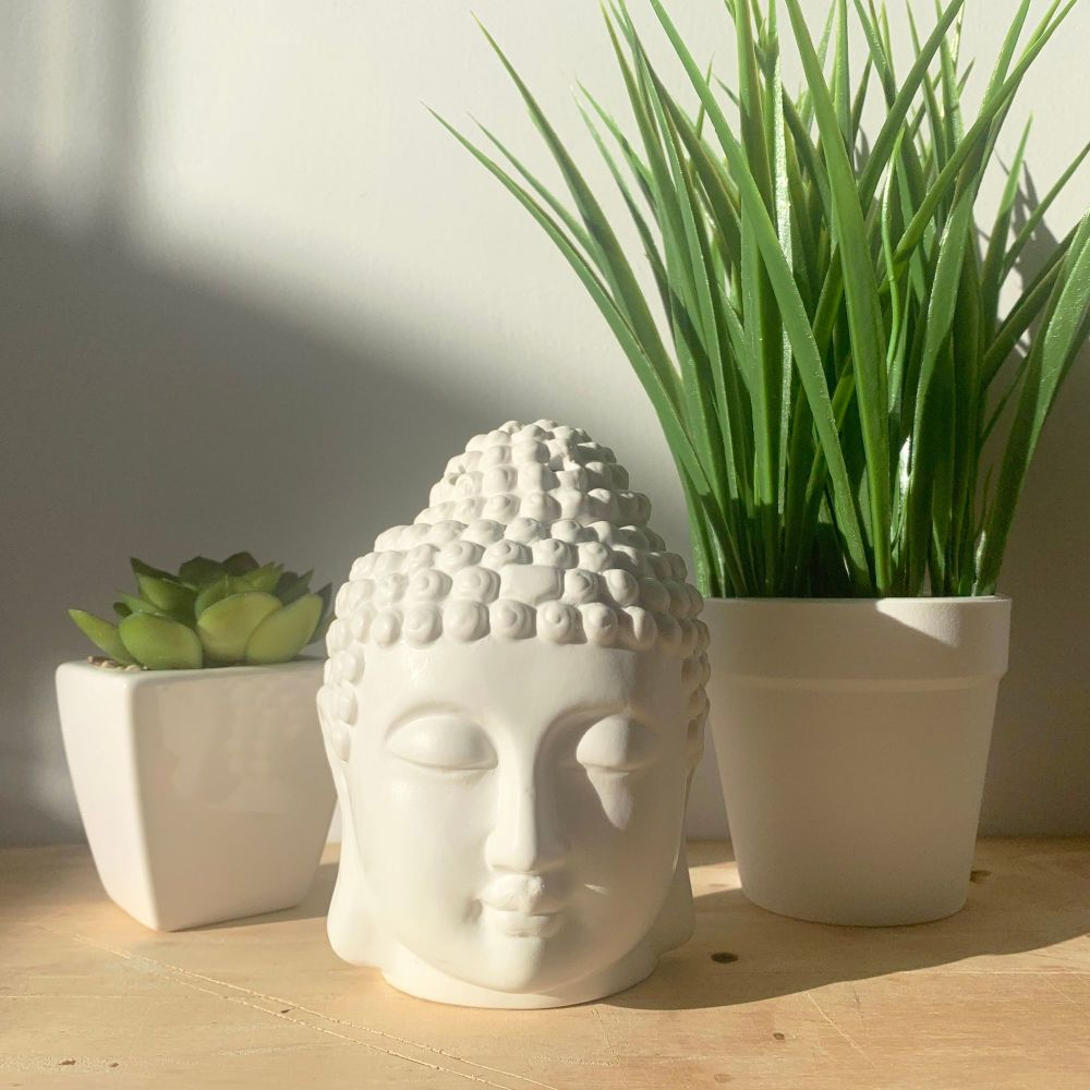 Buddha Head Wax Melt Burner - White