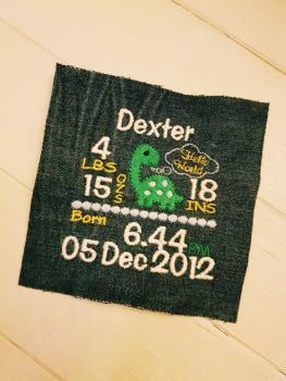 Birth Details Patchwork Embroidery