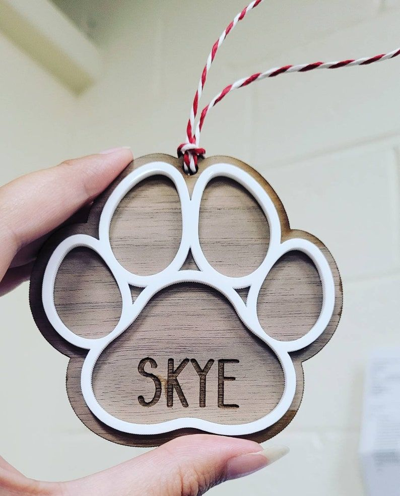 Personalised wooden paw ornament, dog ornament, dog christmas ornament, gif