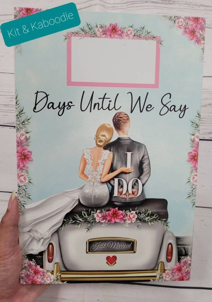 Personalised countdown to our wedding day, wedding countdown, engagement gift, big day countdown, I do countdown,