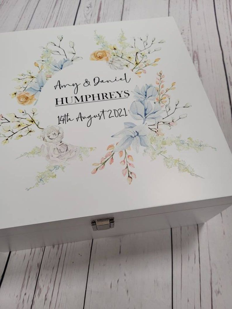 Personalised stunning blue floral themed wedding box, wooden gift box, Bride and Groom gift box, gift for the happy couple, wooden box