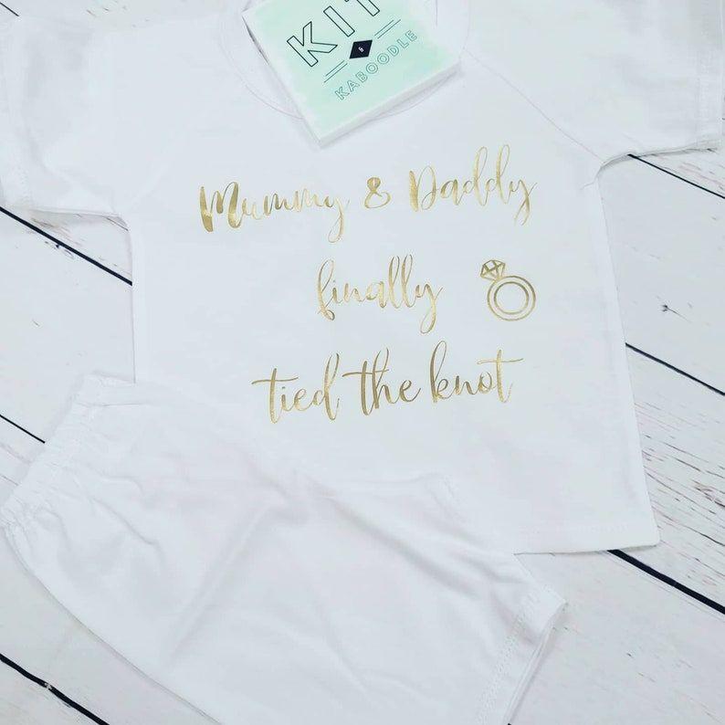 Mummy & Daddy tied the knot pyjamas, cotton shorts pjs, boys pjs, girls pjs, shorts and t shirt, smart pjs, special occasion pjs,wedding