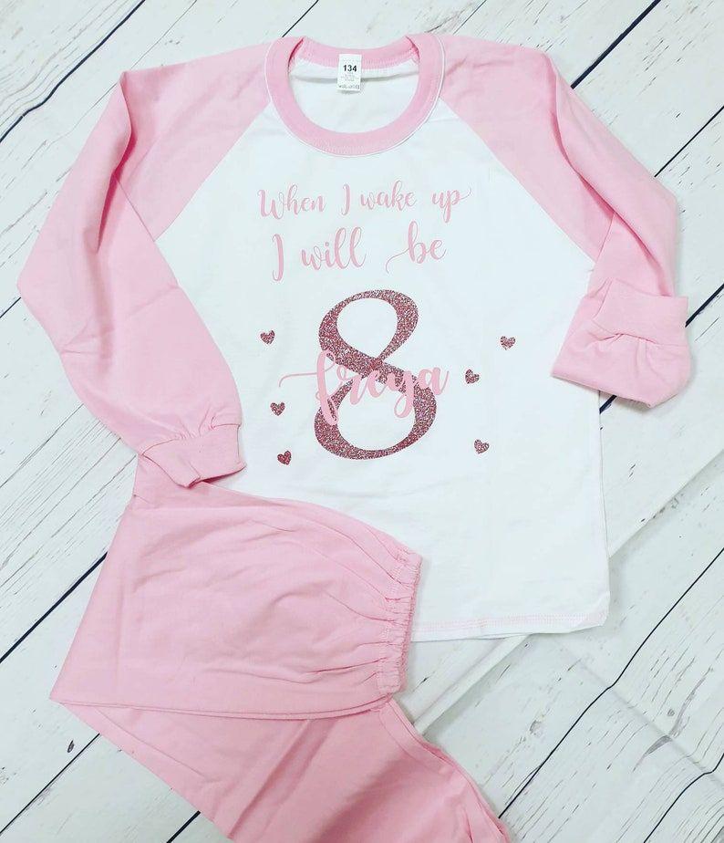 Personalised when I wake up birthday pyjamas, cotton shorts pjs, boys pjs, girls pjs, shorts and t shirt, smart pjs,
