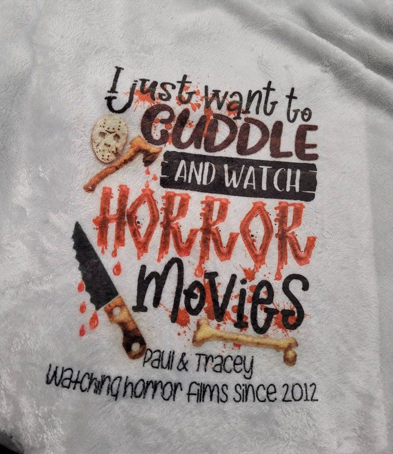 Personalised Horror movie watching blanket, soft blanket, new couple blanket, blanket for horror film, true crime, gift for couple