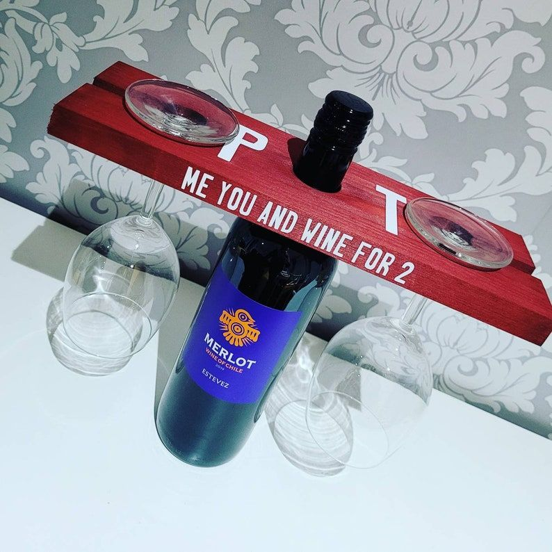 Personalised Wine bottle holder, bottle caddy, bottle and glass holder, stained wood, Valentines gift, gift for him gift for her