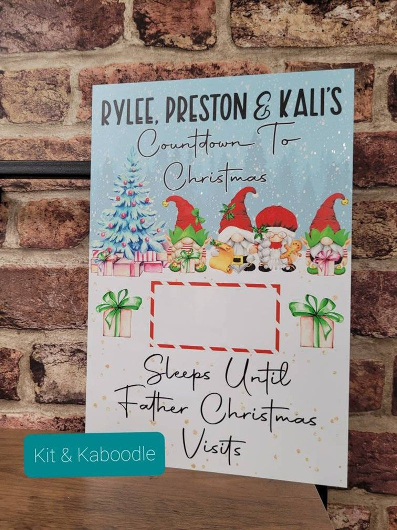 Personalised Christmas countdown with gnomes, countdown to christmas, special christmas, countdown, days till christmas