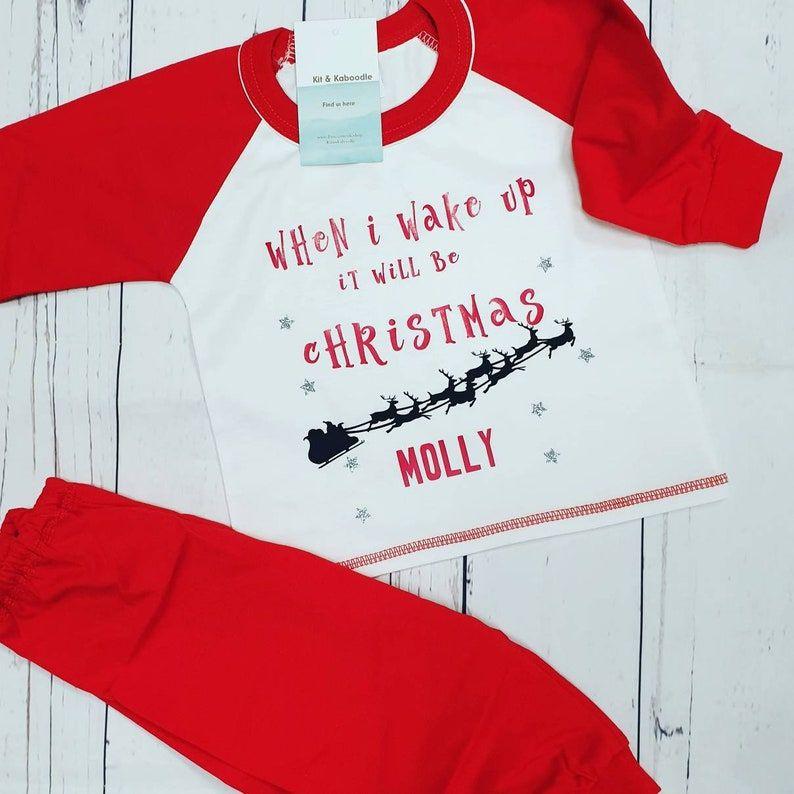 Personalised Christmas eve pjs, family christmas pjs, christmas family pjs, when I wake up pjs, family pyjamas for christmas