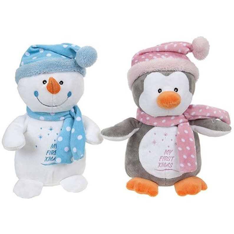 Baby's first christmas plush featuring Snowman and penguin option, 1st Christmas, baby girl first christmas, baby boy first christmas